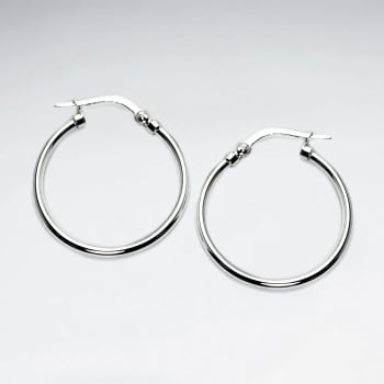 Sterling Silver Medium Style Skinny Hoop Earrings
