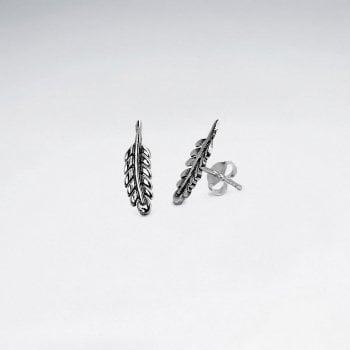 Sterling Silver Mini Feather Stud Earrings