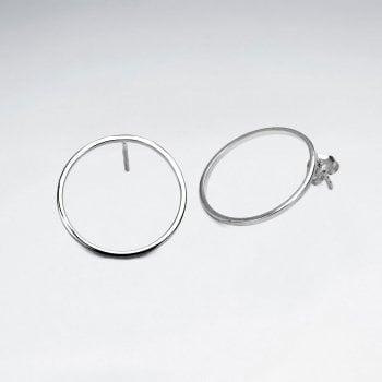 Sterling Silver Minimalist Openwork Circle Stud Earrings