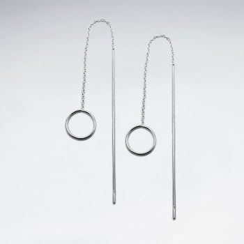 Sterling Silver Minimalist Openwork Circle Threader Fashion Earrings