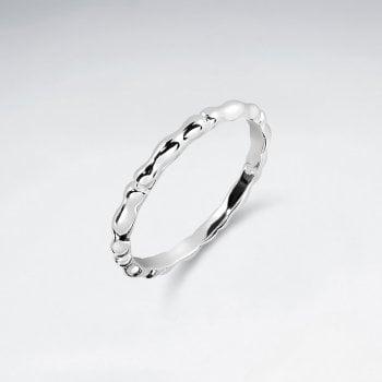 Sterling Silver Minimalist Ripple Bamboo Ring