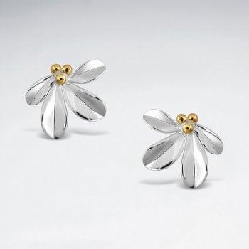 Sterling Silver Mistletoe Flower Stud Earrings