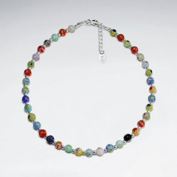 Sterling Silver Mixed Gem Beaded Anklet