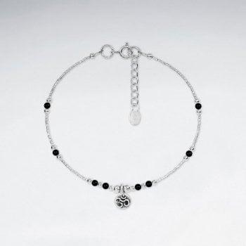 Sterling Silver Mixed Gems Charm Bracelet