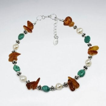 Sterling Silver Mixed Stone Beaded Bracelet