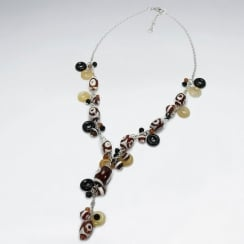 Sterling Silver Mixed Stone V Necklace