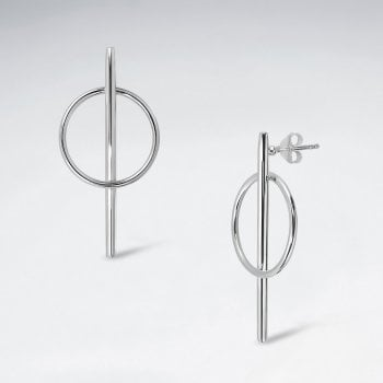 Sterling Silver Modern Circle and Bar Earrings
