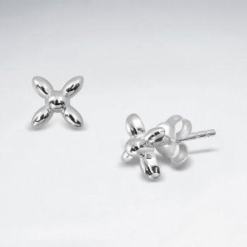 Sterling Silver Modern Dainty Flower Stud Earrings