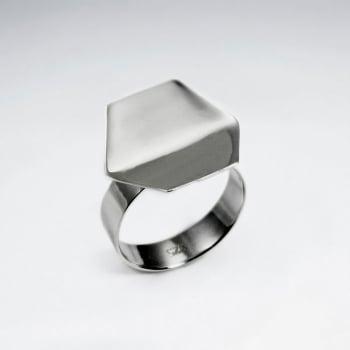 Sterling Silver Modern Hexagon Design Ring