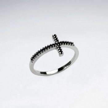 Sterling Silver Modern Sideways Cross Ring