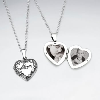 "Sterling Silver ""Mom"" Heart Locket Pendant"