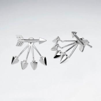 Sterling Silver Multi Arrow Ear Jacket Stud Earrings