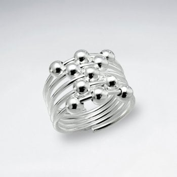 Sterling Silver Multi Ball Ring