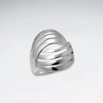 Sterling Silver Multi Lines Design Ring