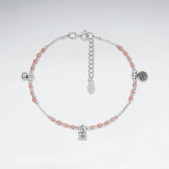 Sterling Silver Multi Silver Charm with Gemstone Anklet