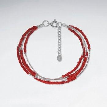 Sterling Silver Multi-Strand Beaded Bracelet