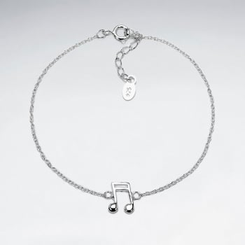 Sterling Silver Musical Double Bar Note Charm Bracelet