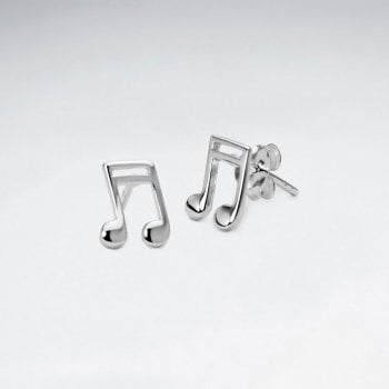 Sterling Silver Musical Note Stud Earrings