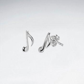 Sterling Silver Musical Note Stud Earrings