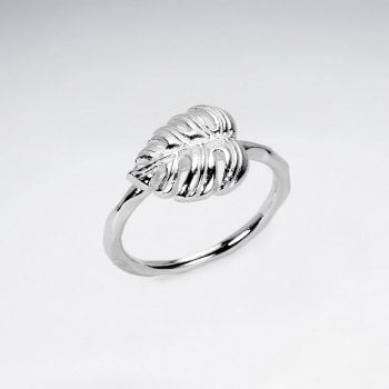 Sterling Silver Nature Tropical Palm Leaf Ring