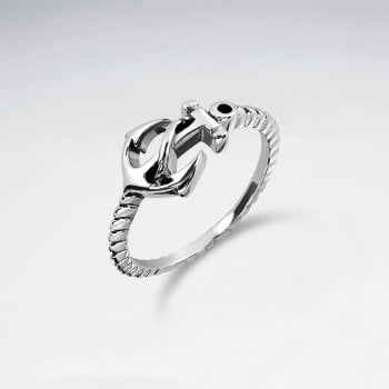 Sterling Silver Nautical Anchor Ring