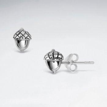 Sterling Silver Oak Tree Acorn Stud Earrings