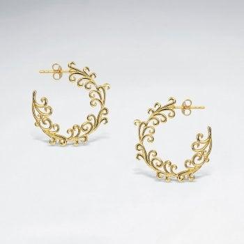 Sterling Silver Ocean Wave Half Hoop Earrings