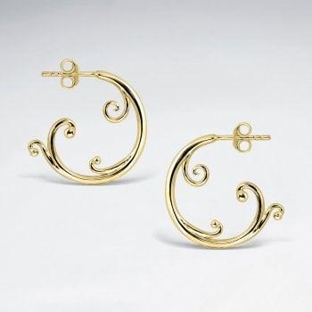 Sterling Silver Ocean Wave Half Hoop Stud Earrings