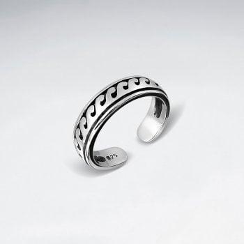 Sterling Silver Ocean Wave Toe Ring