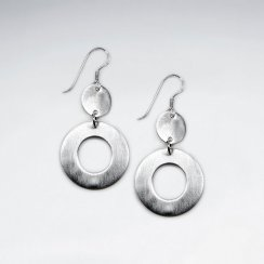 Sterling Silver Open Circle Earrings With Delicate Full Circle Attached to Shepherds Hook