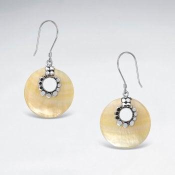 Sterling Silver Open Circle Shell Hook Earrings