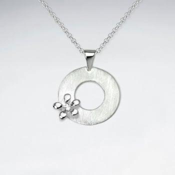 Sterling Silver Open Circle Splat Matte Polish Pendant