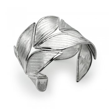 Sterling Silver Open Cuff Leaf Bangle