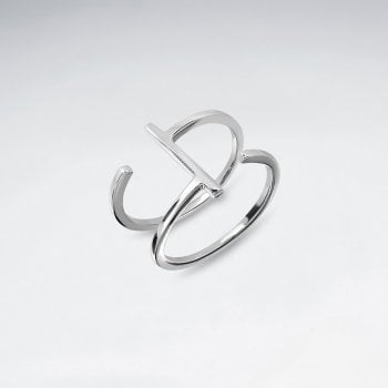 Sterling Silver Open Double Bar Ring