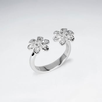 Sterling Silver Open End Double Flower Style Ring