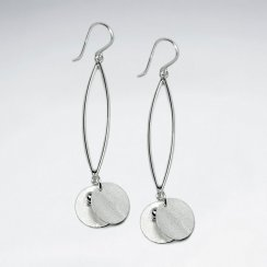Sterling Silver Open Marquise Drop Charms Earrings