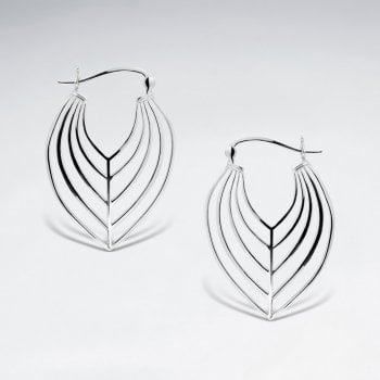 Sterling Silver Openwork Abstract Leaf Hook Earrings