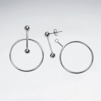 Sterling Silver Openwork Ball & Circle Extender Earrings
