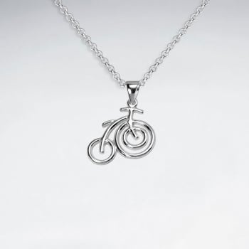 Sterling Silver  Openwork Bicycle Pendant