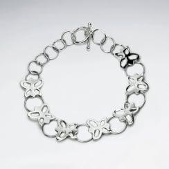 Sterling Silver Openwork Butterfly Bracelet