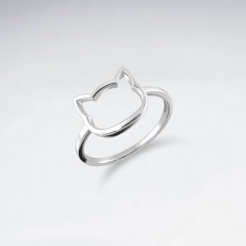 Sterling Silver Openwork Cat Face Ring