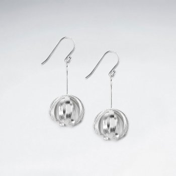 Sterling Silver Openwork Circle Ball Earrings