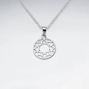 Sterling Silver Openwork Circle Designs Pendant