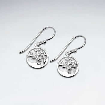 Sterling Silver Openwork Circle Tree Silhouette Earrings