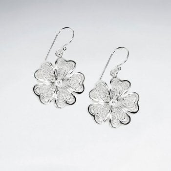 Sterling Silver Openwork Dainty Flower Dangle Earrings