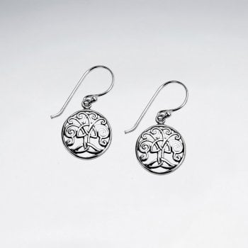 Sterling Silver Openwork Filigree Circle Disc Earrings