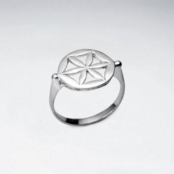 Sterling Silver Openwork Flower Inspired Ring