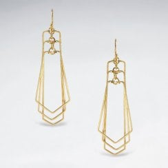 Sterling Silver Openwork Geometric Cascade Earrings