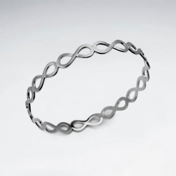 Sterling Silver Openwork Infinity Wrap Bangle Bracelet
