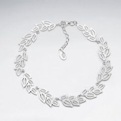 Sterling Silver Openwork Leaf Wrapped Bracelet